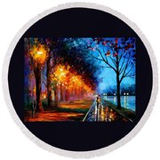 Alley By The Lake 2 - Palette Knife Oil Painting On Canvas By Leonid Afremov Round Beach Towel
