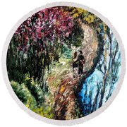 Alley By The Lake Round Beach Towel