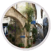 Alley In The Procence Round Beach Towel