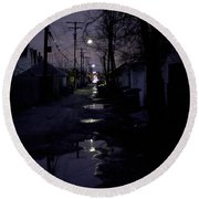 Alley Night Round Beach Towel