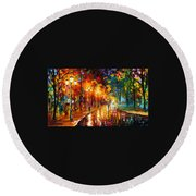 Alley Of The Memories - Palette Knife Oil Painting On Canvas By Leonid Afremov Round Beach Towel