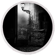 Alley Of Prague In Black And White Round Beach Towel
