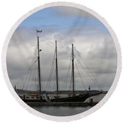 Alliance Schooner Round Beach Towel by Teresa Mucha