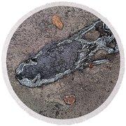 Alligator Skull Fossil 2 Round Beach Towel