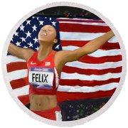 Allison Felix Olympian Gold Metalist Round Beach Towel