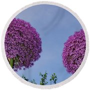 Allium Flowers Round Beach Towel