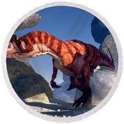 Allosaurus Round Beach Towel