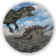 Allosaurus Dinosaurs Moving In To Kill Round Beach Towel