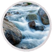 Alluvial Fan Falls On Roaring River Inrocky Mountain National Park Round Beach Towel