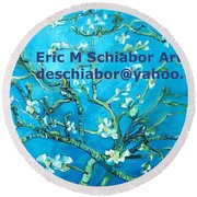 Almond Blossom Branches Round Beach Towel