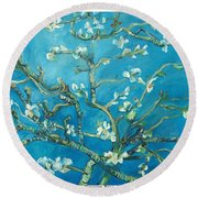 Almond Blossom Branches Print Round Beach Towel