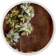 Almond Blossom Round Beach Towel by Marco Oliveira