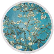 Almond Branches In Bloom Round Beach Towel