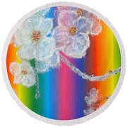 Almond Flowers On Spectrum Round Beach Towel