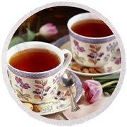 Almond Tea For Two Round Beach Towel