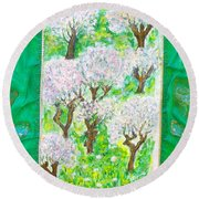 Almond Trees And Leaves Round Beach Towel