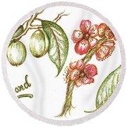 Almond With Flowers Round Beach Towel