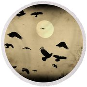 Almost Full Moon And Crows Round Beach Towel