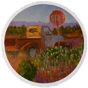 Almost Home - Art By Bill Tomsa Round Beach Towel