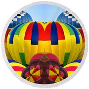 Almost Inflated Hot Air Balloons Mirror Image Round Beach Towel