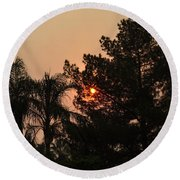 Almosts Gone Now Sunset In Smoky Sky Round Beach Towel