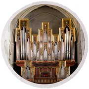 Almudena Cathedral Organ Round Beach Towel