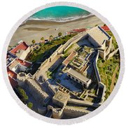 Almunecar Castle From The Air Round Beach Towel