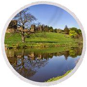Alnwick Castle Panorama Round Beach Towel