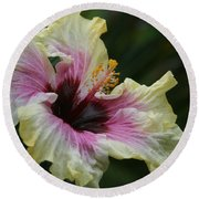 Aloha Aloalo Tropical Hibiscus Haiku Maui Hawaii Round Beach Towel