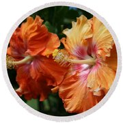 Aloha Keanae Tropical Hibiscus Round Beach Towel