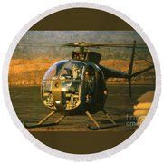 Aloha  Oh-6 Cayuse Light Observation   Helicopter Lz Oasis Vietnam 1968 Round Beach Towel