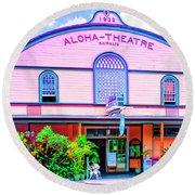 Aloha Theatre Kona Round Beach Towel