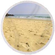Alone At Bolonia Beach Round Beach Towel