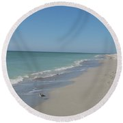 Alone At The Beach Round Beach Towel