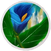 Alone In Blue- Calla Lily Paintings Round Beach Towel