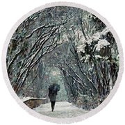 Alone In The  Winter Round Beach Towel