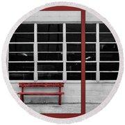 Alone - Red Bench - Windows Round Beach Towel