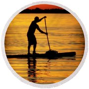 Alone With The Sun Round Beach Towel