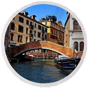 Along The Canals Of Venice Round Beach Towel
