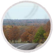 Along The Country Highway 1 Round Beach Towel