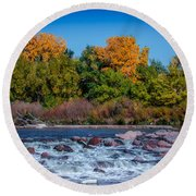 Along The Creek Round Beach Towel