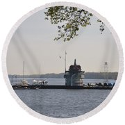 Along The Delaware River In New Jersey Round Beach Towel