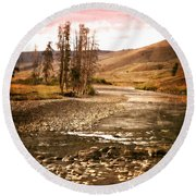 Along The Larmar River 2 Round Beach Towel by Marty Koch