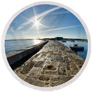Along The North Wall Round Beach Towel