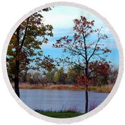 Along The Platte Round Beach Towel