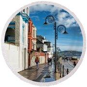 Along The Promenade - Lyme Regis Round Beach Towel