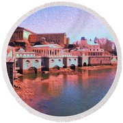 Along The Schuylkill At The Philadelphia Waterworks Round Beach Towel