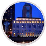 Along The Scioto At Night Round Beach Towel