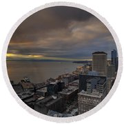 Along The Seattle Waterfront Round Beach Towel