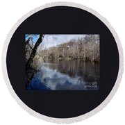 Silver River - Reflections Round Beach Towel